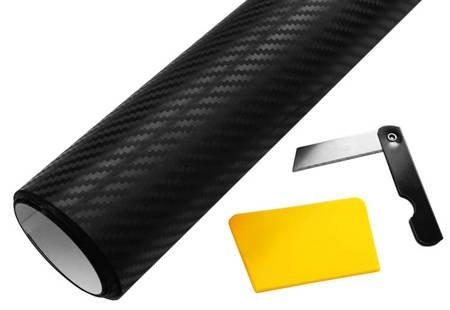 Folia carbon 3D czarna 152x50cm + nożyk i rakla